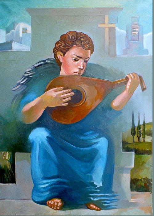 Angel Greeting Card featuring the painting Angel Of Recession by Filip Mihail