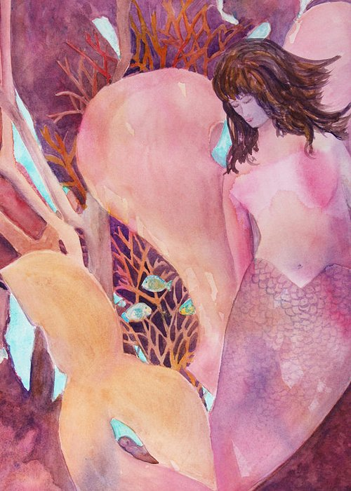 Mermaid Greeting Card featuring the painting Angel Of The Sea by Teri Jones