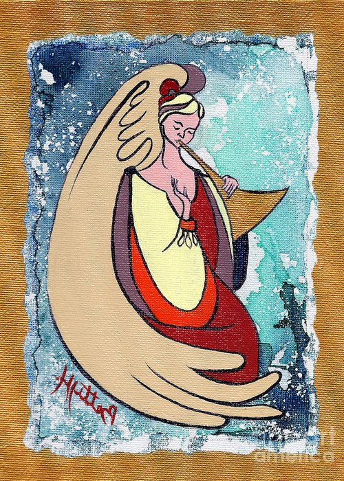 Angel Greeting Card featuring the painting Angel Playing For Us No1 by Elisabeta Hermann