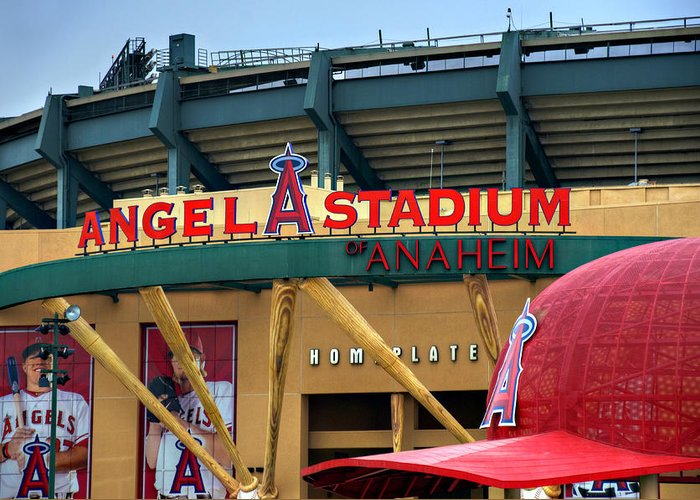 Los Greeting Card featuring the photograph Angel Stadium by Ricky Barnard