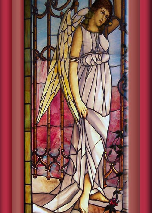 Stained Glass Greeting Card featuring the photograph Angel Stained Glass Window by Thomas Woolworth