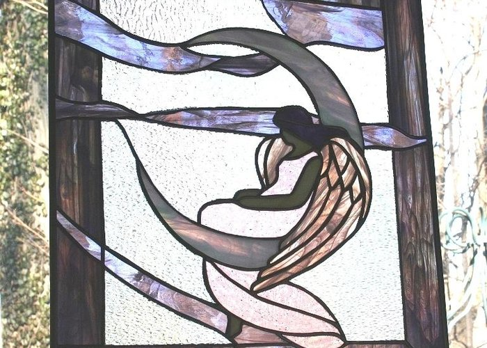 Stained Greeting Card featuring the glass art Angel Waits by Jill Groves