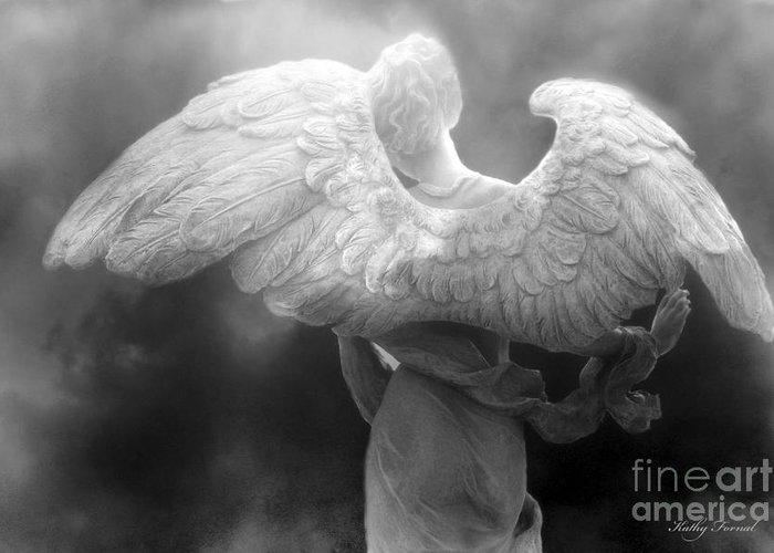 Black White Angels Art Greeting Cards