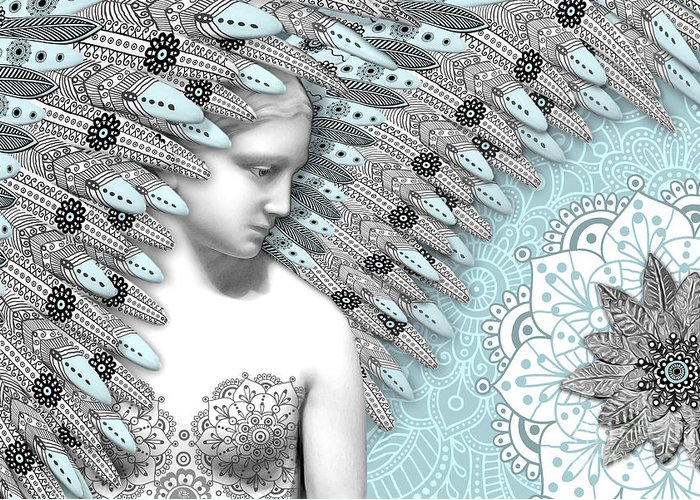 Angel Greeting Card featuring the digital art Angelica Hiberna - Angel Of Winter by Christopher Beikmann