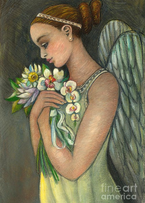 Figurative Greeting Card featuring the painting Angelical Girl With Flowers by Vera Zales