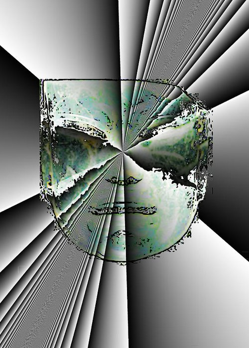 Abstract Greeting Card featuring the digital art Anger Mask by Jack Bowman