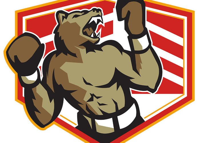 Bear Greeting Card featuring the digital art Angry Bear Boxer Boxing Retro by Aloysius Patrimonio