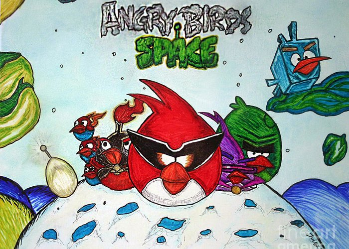Angry Greeting Card featuring the mixed media Angry Bird Space by Julie Farnsworth