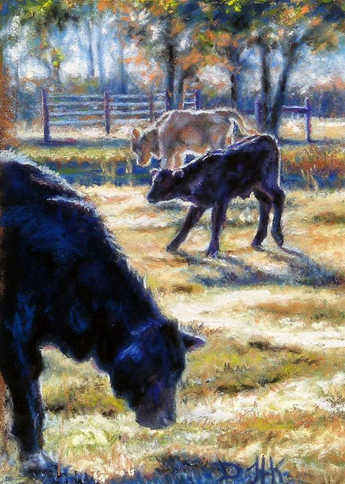Animals Greeting Card featuring the pastel Angus Calves Out With Dad by Denise Horne-Kaplan