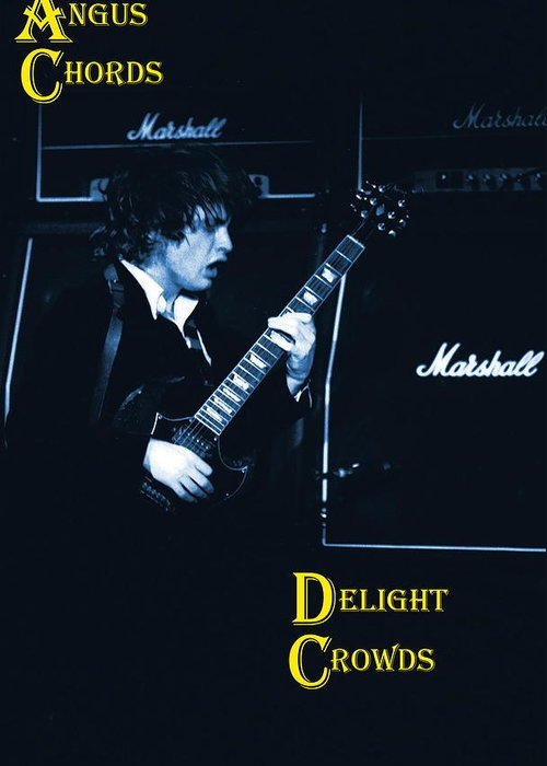 Angus Young Greeting Card featuring the photograph Angus Chords Delight Crowds In Blue by Ben Upham
