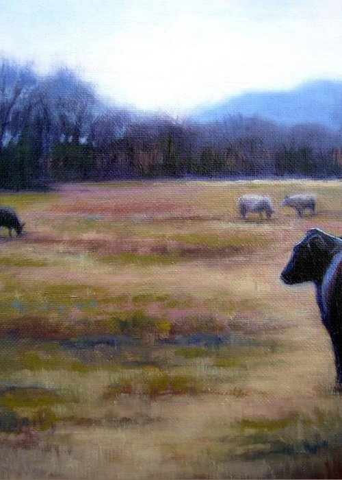Angus Steer Greeting Card featuring the painting Angus Steer In Franklin Tn by Janet King