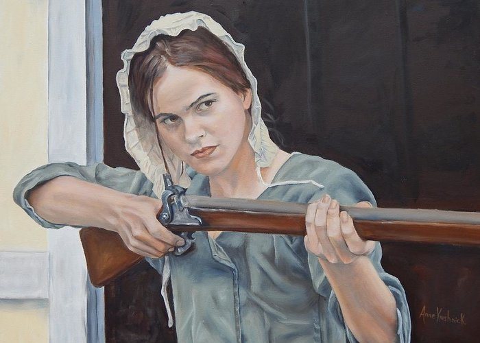Portrait Greeting Card featuring the painting Ani Get Your Gun by Anne Kushnick
