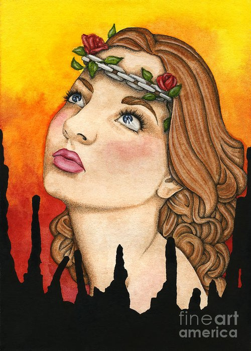 Anima Greeting Card featuring the painting Anima Sola by Nora Blansett