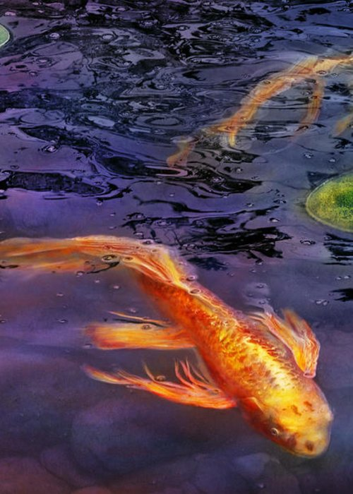 Savad Greeting Card featuring the photograph Animal - Fish - There's Something About Koi by Mike Savad