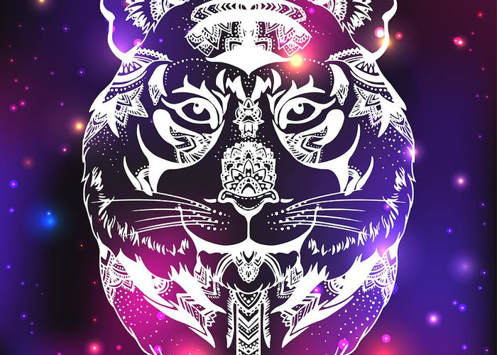 Character Greeting Card featuring the digital art Animal Head Print For Adult Anti Stress by Anastasia Mazeina