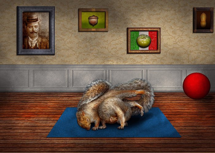 Squirrel Greeting Card featuring the photograph Animal - Squirrel - And Stretch Two Three Four by Mike Savad