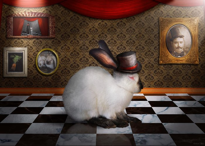 Rabbit Greeting Card featuring the photograph Animal - The Rabbit by Mike Savad