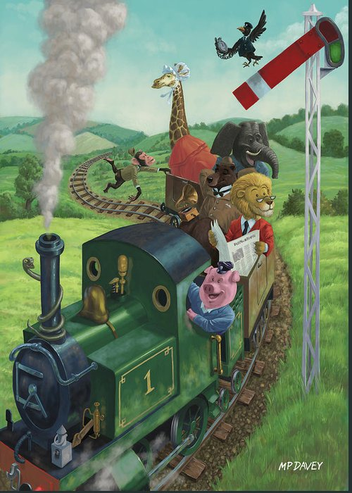 Animal Greeting Card featuring the painting Animal Train Journey by Martin Davey