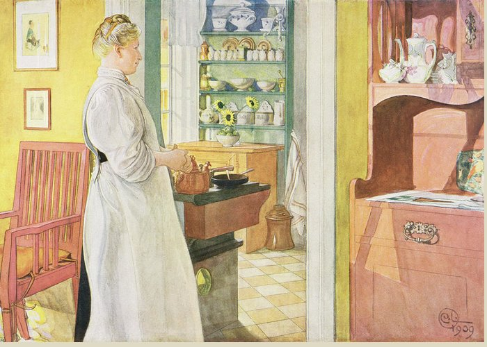 Cook Greeting Card featuring the painting Anna Arnbom , Pub. In Lasst Licht Hinin by Carl Larsson