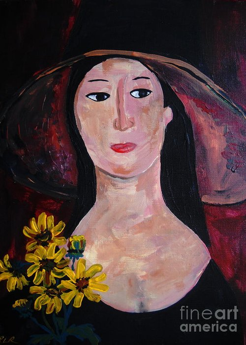 Woman Greeting Card featuring the painting Anna by Reina Resto