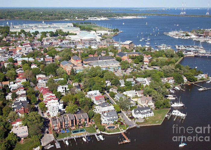 Aerial Greeting Card featuring the photograph Annapolis by Bill Cobb
