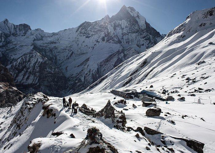 Himalaya Greeting Card featuring the photograph Annapurna Base Camp by Luca Benazzi