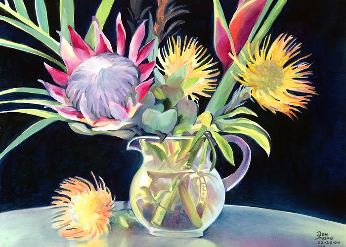 Copal Oil Greeting Card featuring the painting Anna's Protea Flowers Transparent by Don Jusko