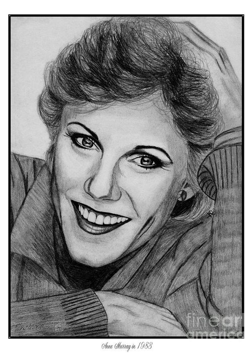 Mccombie Greeting Card featuring the drawing Anne Murray In 1983 by J McCombie