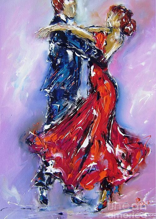 Dancers Greeting Card featuring the painting Anniversary Dance Painting by Mary Cahalan Lee- aka PIXI