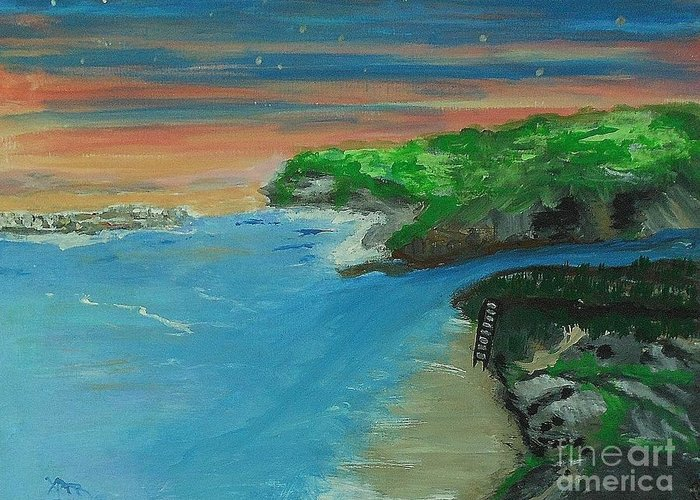 Greeting Card featuring the painting Ann's Beach On Lake Erie by Marie Bulger