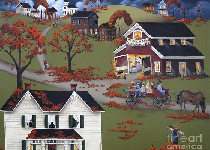 Art Greeting Card featuring the painting Annual Barn Dance And Hayride by Catherine Holman
