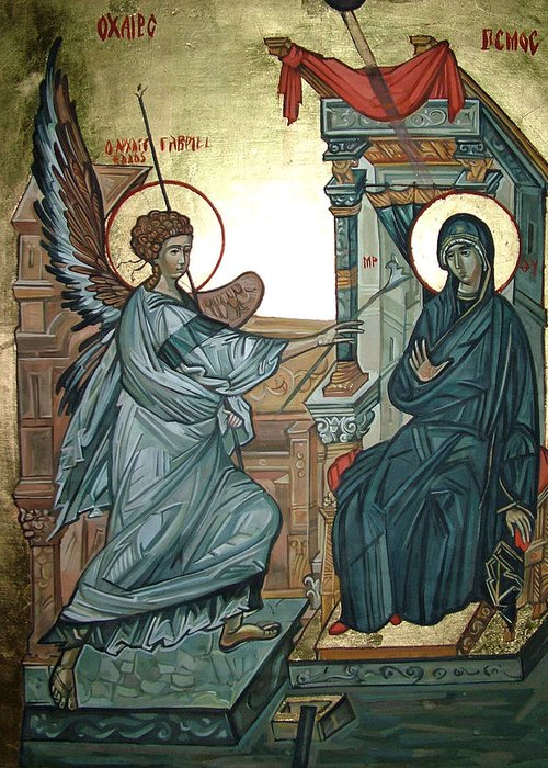 Icons Greeting Card featuring the painting Annunciation by Filip Mihail