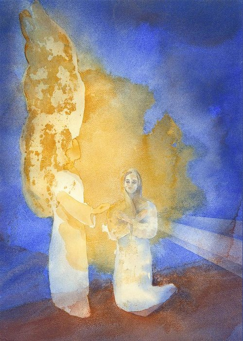 Luke 1: 26-38 Greeting Card featuring the painting Annunciation by John Meng-Frecker