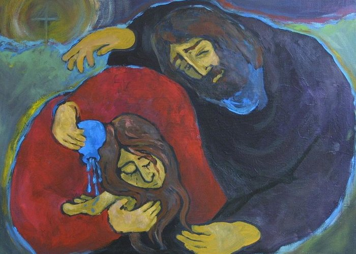 Anointing the Feet of Jesus Painting by Ann Lukesh