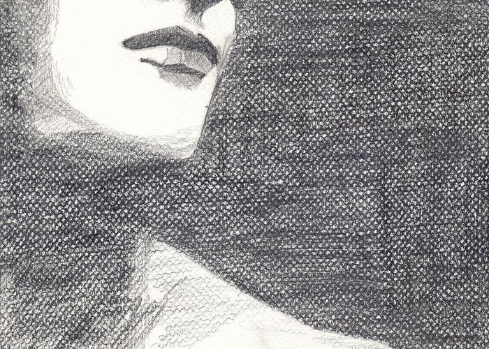 Face Greeting Card featuring the drawing Anonymous Crop by Michele Engling