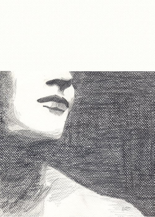 Face Greeting Card featuring the drawing Anonymous by Michele Engling