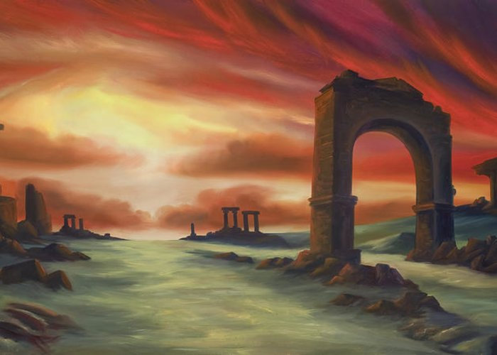 Sunset Greeting Card featuring the painting Another Fallen Empire by James Christopher Hill