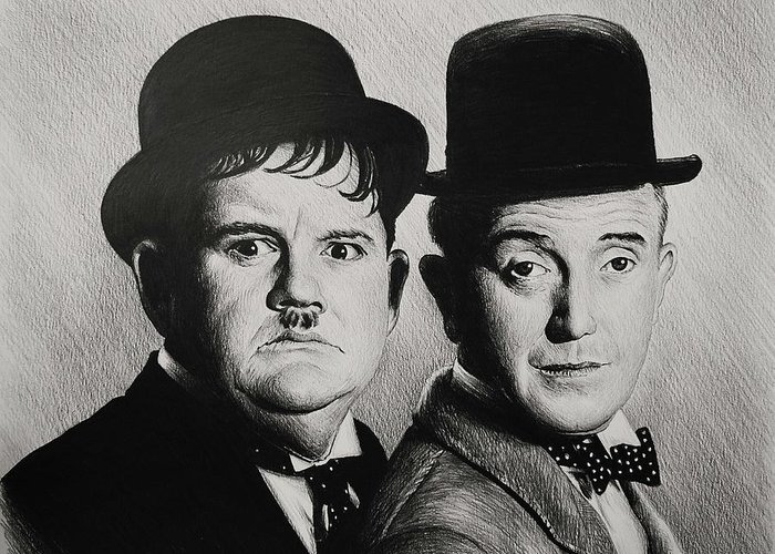 Laurel And Hardy Greeting Card featuring the drawing Another Fine Mess by Andrew Read
