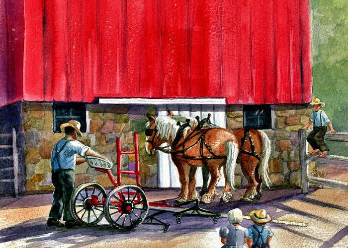 Amish Greeting Card featuring the painting Another Way Of Life by Marilyn Smith