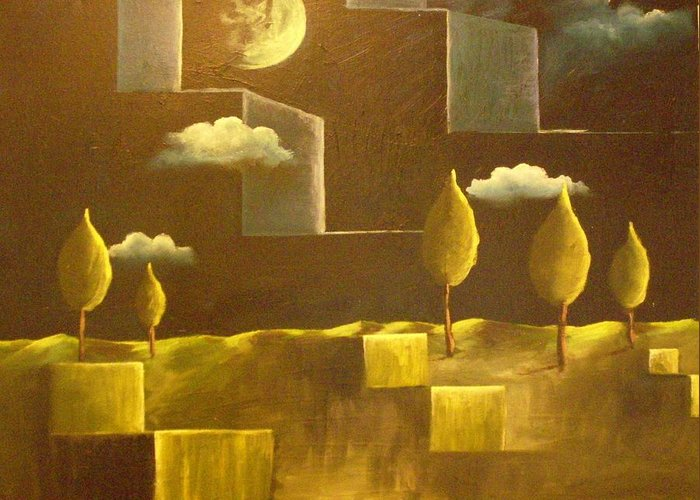 Surrealism Greeting Card featuring the painting another World by Birgit Schnapp