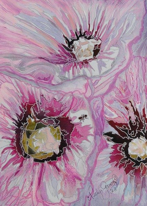 Painting Greeting Card featuring the painting Ant Exploring Hollyhock by Jo Anne Neely Gomez