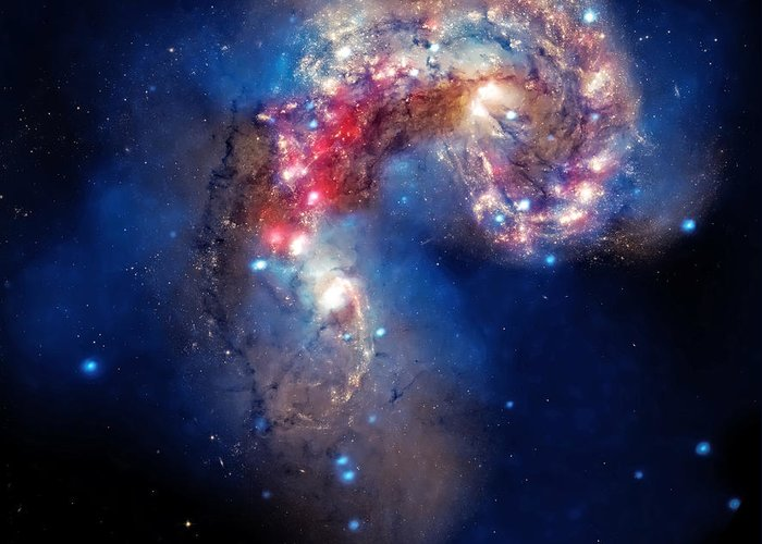 Universe Greeting Card featuring the photograph Antennae Galaxies Collide 2 by Jennifer Rondinelli Reilly - Fine Art Photography