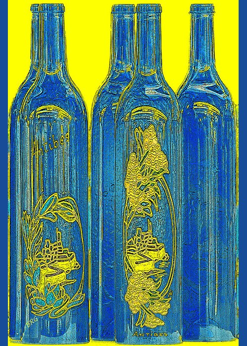 Blue And Yellow Greeting Card featuring the photograph Antibes Blue Bottles by Ben and Raisa Gertsberg