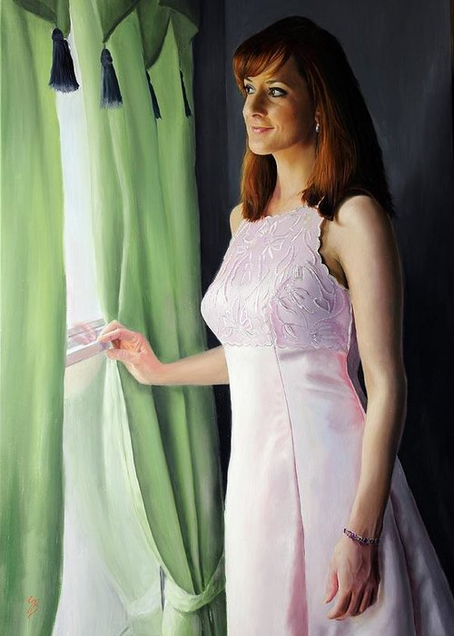 Portrait Paintings Greeting Card featuring the painting Anticipation by Glenn Beasley