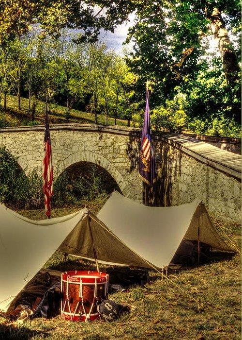 Civil War Greeting Card featuring the photograph Antietam - 8th Connecticut Volunteer Infantry-a1 Encampment Near The Foot Of Burnsides Bridge by Michael Mazaika