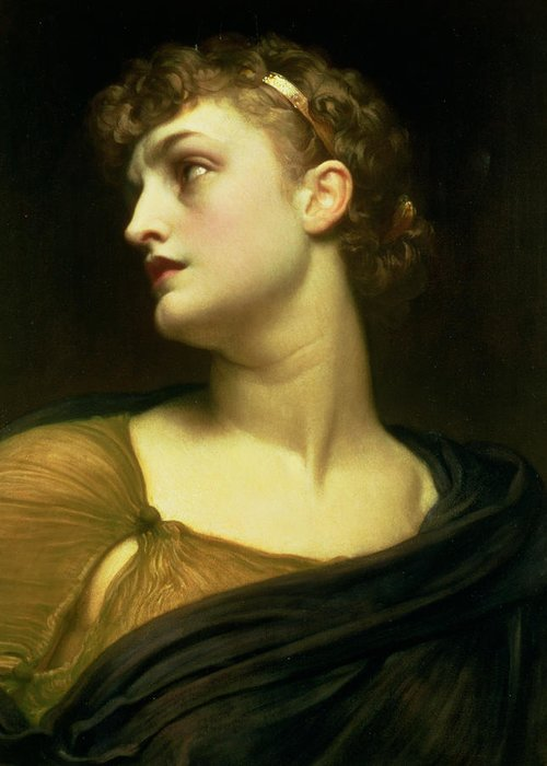 Portrait Greeting Card featuring the painting Antigone by Frederic Leighton