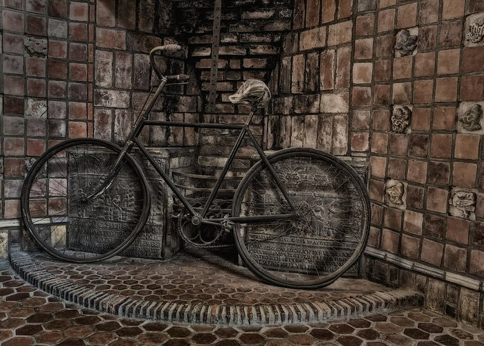 Byzantine Greeting Card featuring the photograph Antique Bicycle by Susan Candelario