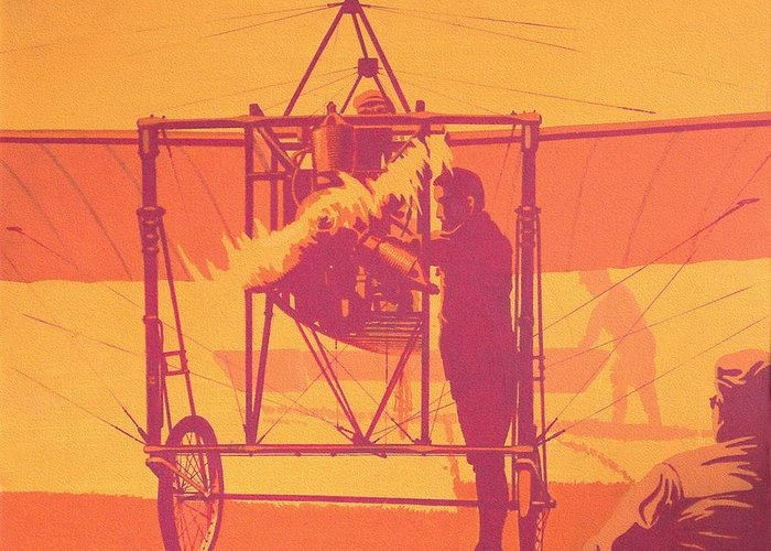 Vintage Greeting Card featuring the painting Antique Bleriot Airplane by John Samsen