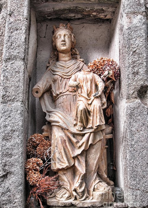 France Greeting Card featuring the photograph Antique Blessed Virgin Statue by Olivier Le Queinec