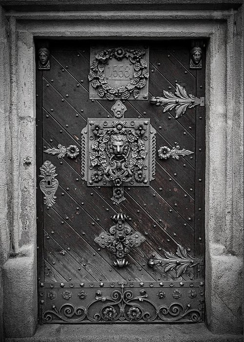 Door Greeting Card featuring the photograph Antique Doors In Budweis by Christine Till
